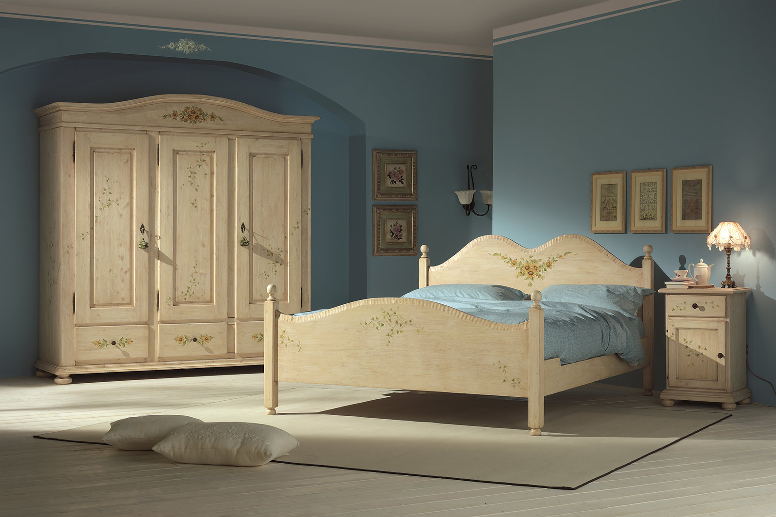 Letto matrimoniale country sv39 pineglen for Camere complete online